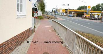 Ortsdurchfahrt Syke – linker Radweg