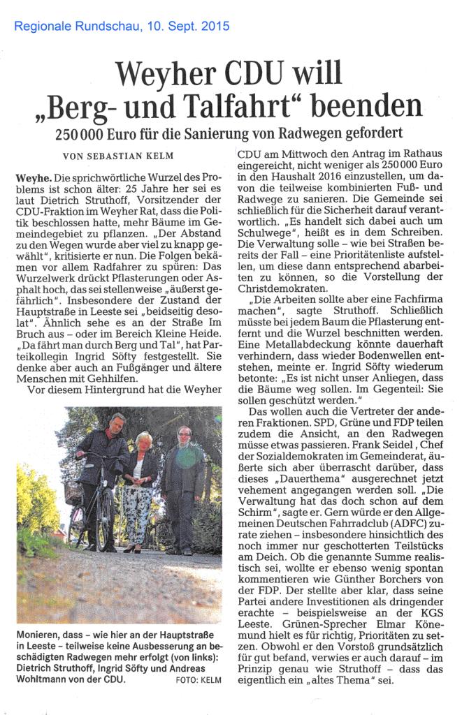 Weyher CDU will Berg- und Talfahrt beenden