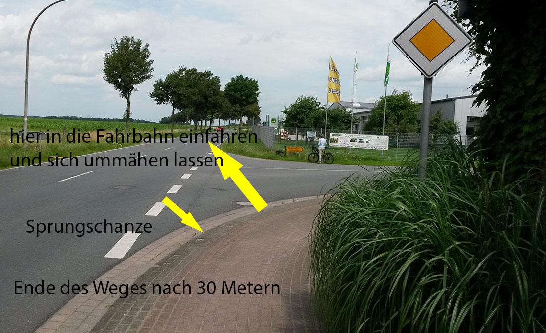 Ende Radweg mit Sprungschanze - L 347 Varrel