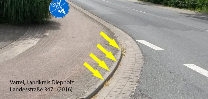 Ende Radweg am Bordstein