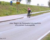 Querungshilfen am linken Radweg konsequent ignoriert
