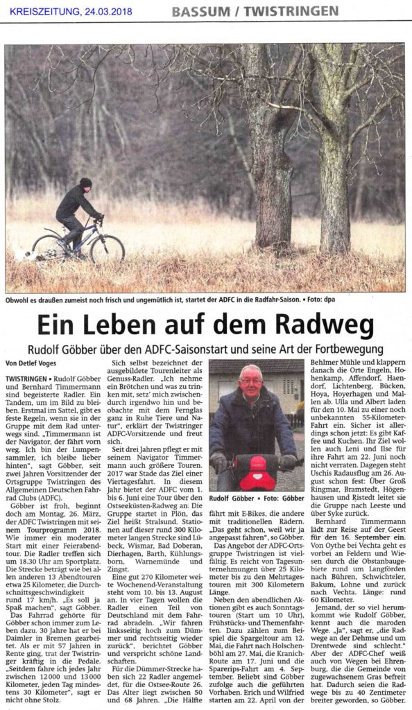Kreiszeitung: Ein Leben auf dem Radweg