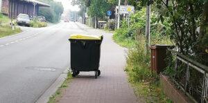 Mülltonne auf Radweg
