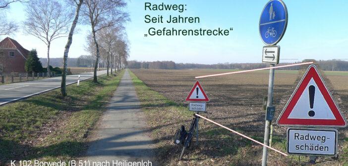 K 102 Borwede-Heiligenloh: Radweg pfui, Fahrbahn hui