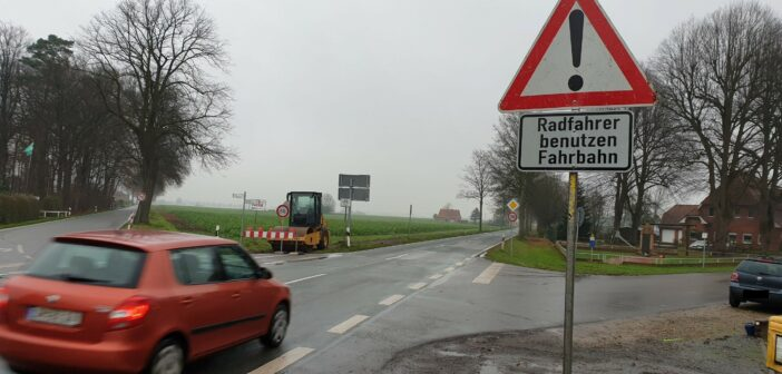 Gut gemacht: Radweg-Baustelle L 202 bei Schwaförden